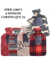 Hot Water Bottles with Printed Fleece Cover - Assorted  designs