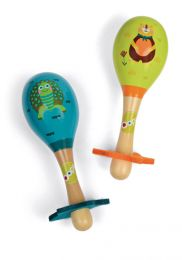 Pair of Wooden Maracas: Forest Theme by Oops