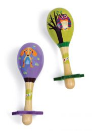 Pair of Wooden Maracas: City Theme by Oops