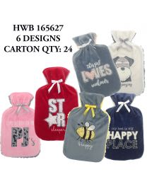 Hot Water Bottles with Soft Sherpa Cover - Assorted Designs