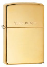 Zippo High Polish Brass With 'Solid Brass' On Lid Lighter