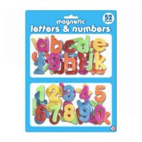 52pc Magnetic Plastic Letters & Numbers On Blistercard