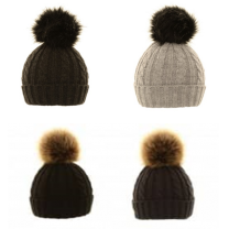 Ladies Large Removable Pom Pom Hat
