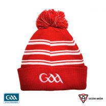 GAA Scór-Mór Bobble Beanie Hat Red & White  (Hats & Beanies)