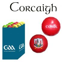 Cork 27 Size 5 Leather Official GAA & Scór Mór Footballs in Dump Bin