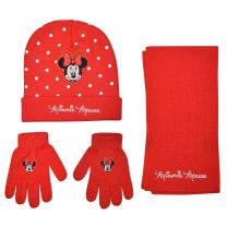 Disney Minnie 3Pcs Set (Hat, Scarf & Gloves) Red
