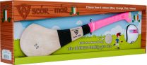 GAA Scór-Mór Ash Hurley With Soft Grip And First Touch Sliotar 20 Pink Hurling Gift Set