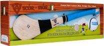 GAA Scór-Mór Ash Hurley With Soft Grip And First Touch Sliotar 22 Blue Hurling Gift Set