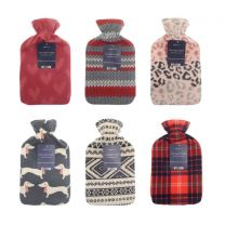 Hot Water Bottles with Printed Fleece Cover - Assorted (Box Qty 24)