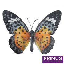 Primus Large Metal Butterfly - Orange and Black Handcrafted Wall Art.
