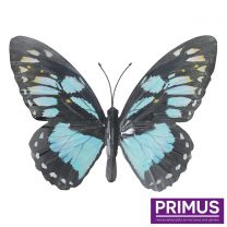 Primus Large Metal Butterfly - Cyan Handcrafted Wall Art.