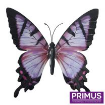 Primus Large Metal Butterfly - Pink and Black Handcrafted Wall Art.