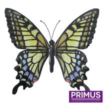 Primus Large Metal Butterfly - Yellow, Blue and Black Handcrafted Wall Art.