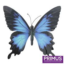 Primus Large Metal Butterfly - Blue and Black Handcrafted Wall Art.