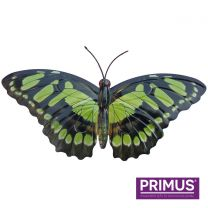 Primus Large Metal Butterfly - Green Handcrafted Wall Art.