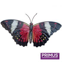 Primus Large Metal Butterfly - Red Handcrafted Wall Art.