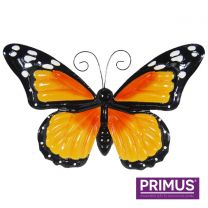 Primus Large Metal Butterfly with Flapping Wings Orange Handcrafted Wall Art.