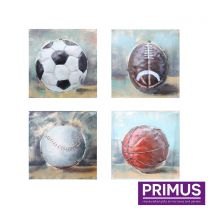 Primus Set of 4 Balls of Sport Handcrafted Wall Art