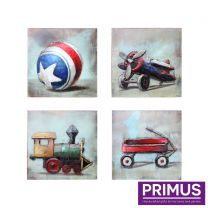 Primus Set of 4 Child's Toys Handcrafted Wall Art