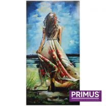 Primus Woman on Beach Handcrafted 3D Metal Wall Art.
