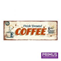 Primus Coffee Served Here Metal Plaque - 36 x 13cm