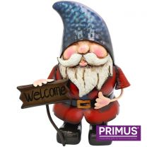 Primus Metal Gnome with Welcome Sign Handcrafted Metal Sculpture