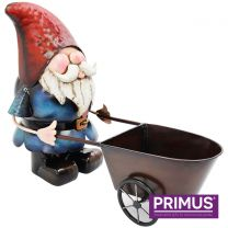 Primus Metal Gnome with Wheelbarrow Planter Handcrafted Metal Sculpture
