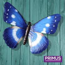 Primus Giant Metal 3D Blue Butterfly Handcrafted Wall Art.