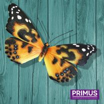 Primus Giant Metal 3D Wide Orange Butterfly Handcrafted Wall Art.
