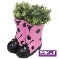 Primus Ladybird Boots Planter (Frost Proof Polyresin) Pink