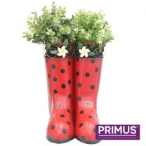 Primus Hanging Pair of Wellies Metal Planter Red