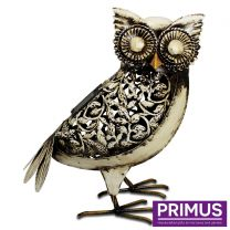 Primus White Solar Owl Handcrafted Metal Sculpture