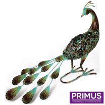 Primus Ornate Solar Peacock Handcrafted Metal Sculpture