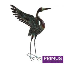 Primus Ornate Solar Winged Crane Handcrafted Metal Sculpture