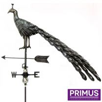 Primus 3D Peacock Weathervane with Garden Stake Stainless Steel