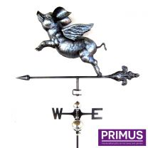 Primus 3D Flying Pig Weathervane with Garden Stake Stainless Steel