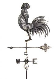 Primus 3D Cock Crowing Weathervane with Garden Stake Stainless Steel
