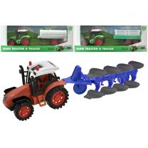 Friction Tractor & Trailer Or Plough - 3 Assorted