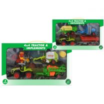4x4 Friction Tractor & Implements (4pcs) Playset