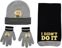 Minions 3 Pcs Set (Hat, Scarf & Gloves) Boys Grey/Black