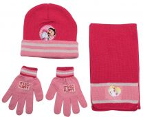Minions 3 Pcs Set (Hat, Scarf & Gloves) Girls Dk Pink