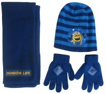 Minions 3 Pcs Set (Hat, Scarf & Gloves) Boys Light/Dark Blue